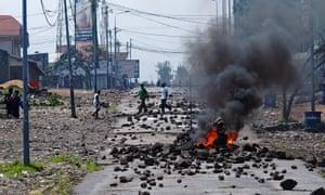 A barricade burns in Goma during a protest against President Joseph Kabila.