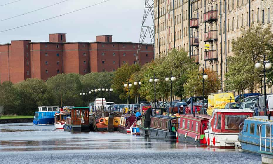 A large flotilla gathers on the Forth & Clyde Canal at Speirs Wharf in Glasgow for the 10th anniversary of the reopening of the waterway.