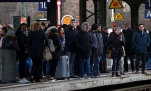 Commuters at a German railway station