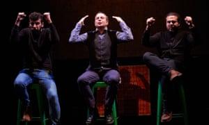 Faisal Abualheja, Mark Thomas and Alaa Shehada in Showtime from the Frontline, at the Traverse theatre, Edinburgh.