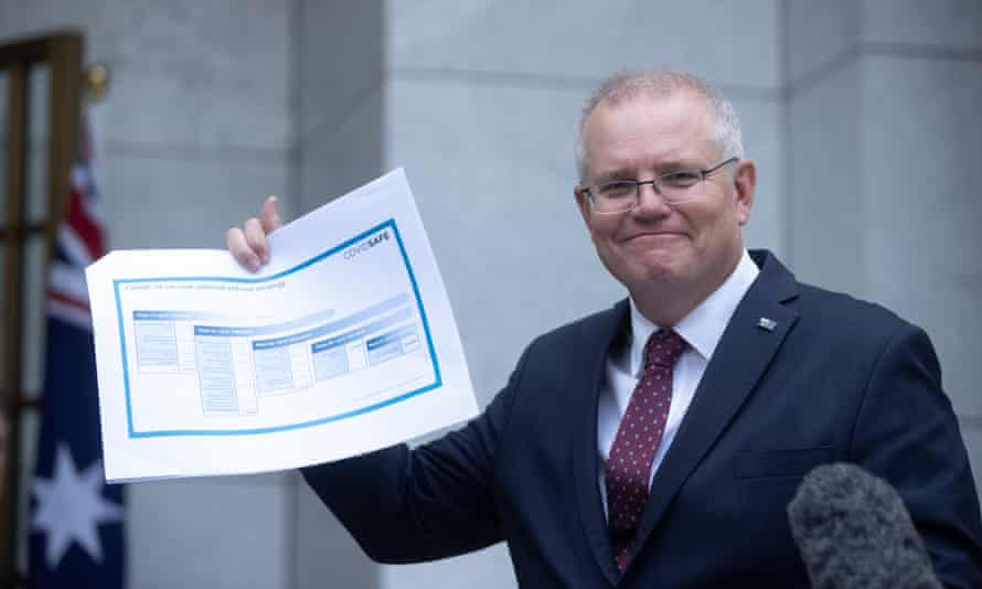 Australian prime minister Scott Morrison announces the national Covid 19 vaccine rollout plan on Thursday.