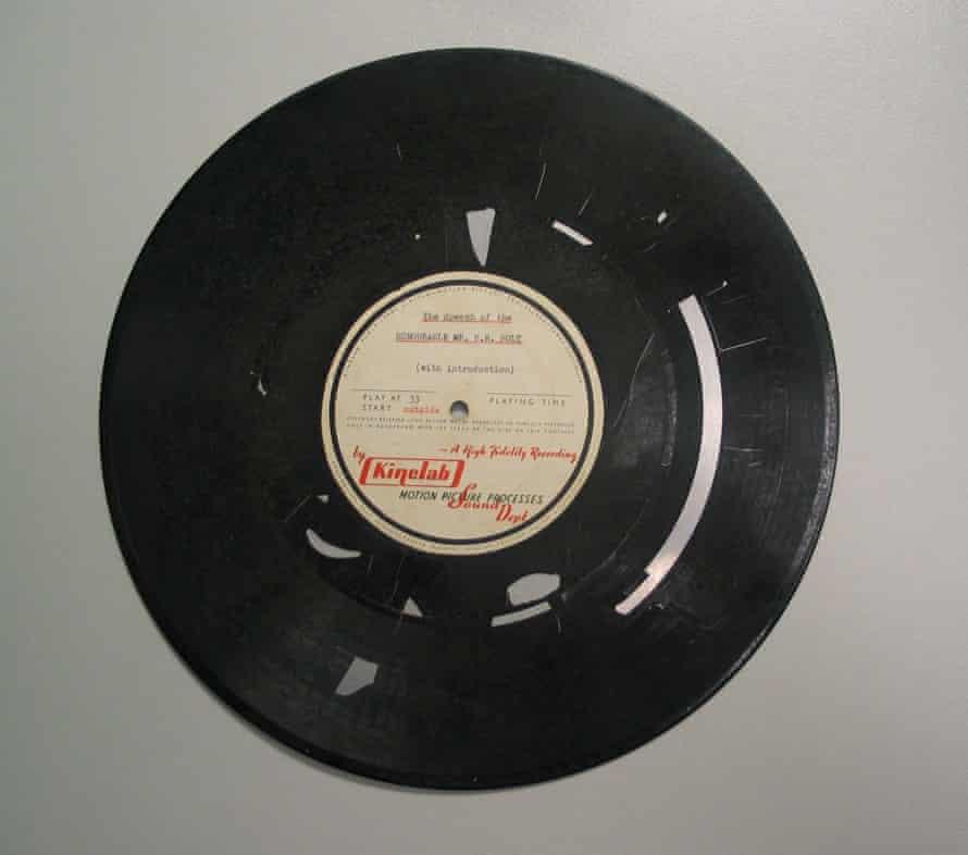 A disintegrating vinyl record.