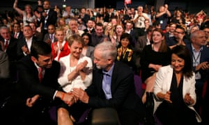 Andy Burnham, left, Yvette Cooper and Liz Kendall congratulate new leader Jeremy Corbyn.
