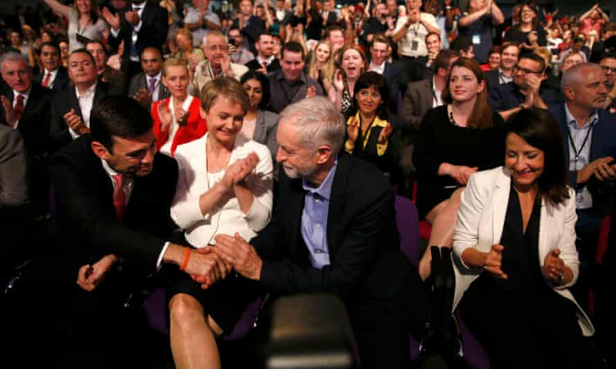 Jeremy Corbyn is congratulated on winning the Labour leadership in 2015.