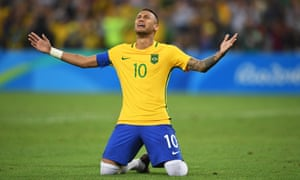 Neymar cries in celebration after his winning penalty in the shootout against Germany at the Maracanã, which gave Brazil their first men's Olympic football title