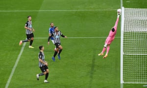 Karl Darlow denies Everton a goal in the game at Newcastle this month.