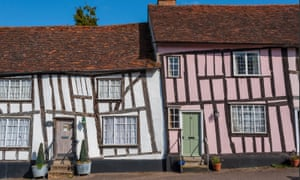 Terraced timber cottages at Lavenham, Suffolk