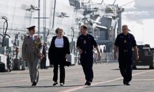 May visits HMS Ocean in Manama.