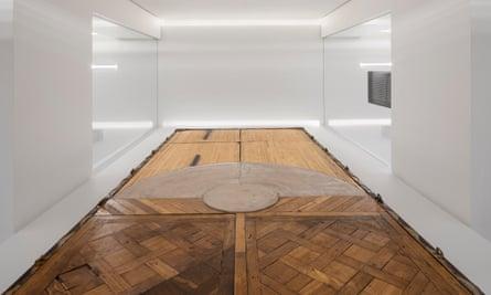 Oscar Tuazon's Mobile Floor, commissioned for Celine Paris Grenelle: steel, fir, oak, fibre concrete, aluminium and paint.