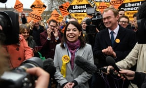 Tim Farron congratulates Sarah Olney on her byelection win