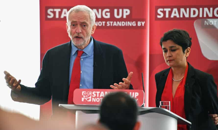 Jeremy Corbyn and Shami Chakrabarti at the launch of Chakrabarti's report into antisemitism in the Labour party.