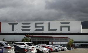 Tesla plant in Fremont, California, earlier today.Elon Musk reopened Tesla's San Francisco Bay Area factory on Monday and Donald Trump is supporting that decision.
