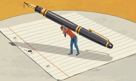 An illustration of a tiny woman standing on a huge blank piece of lined paper carrying an equally huge pen over her head