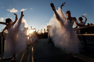 Participants attend an outdoor ballet lesson in Moscow, Russia