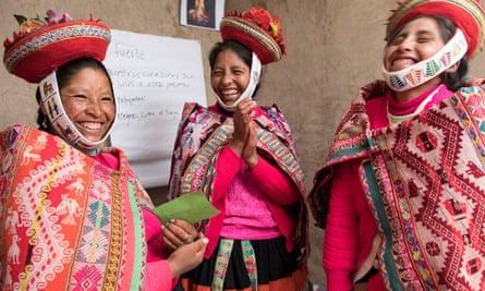 Three Quechuan women in traditional dress, Peru