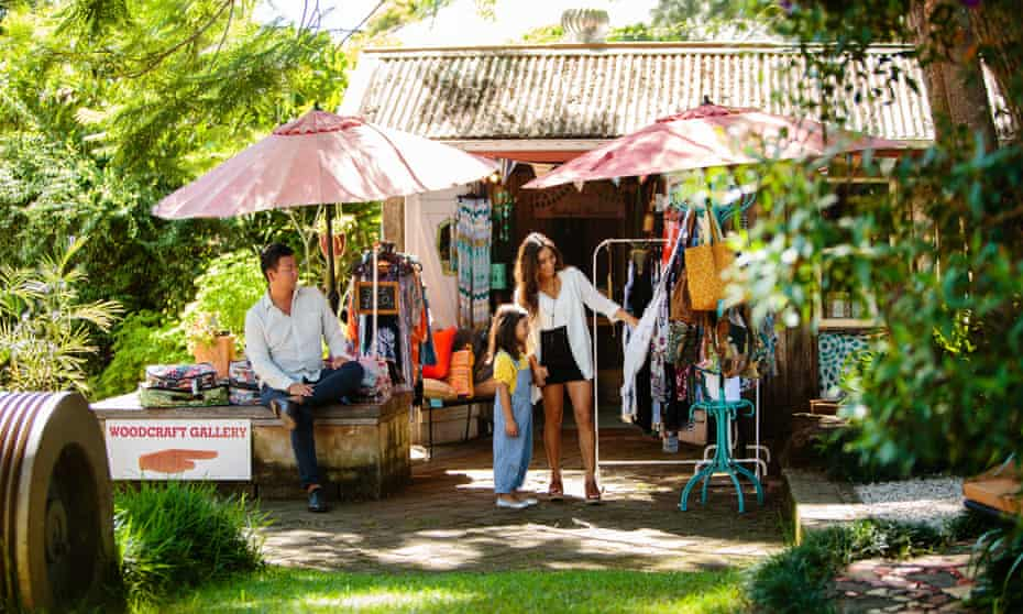 Family shopping at the local markets in Bellingen on the North Coast.