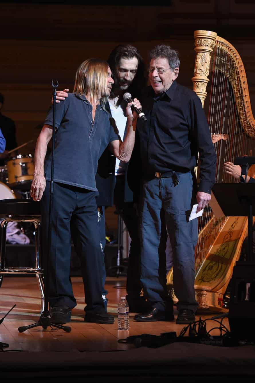 Iggy Pop, Eugene Hutz and Philip Glass rehearse onstage.