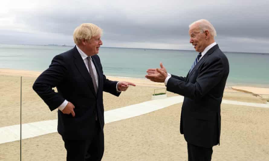 Boris Johnson and Joe Biden meet before the G7 leaders' summit in Carbis Bay, Cornwall.