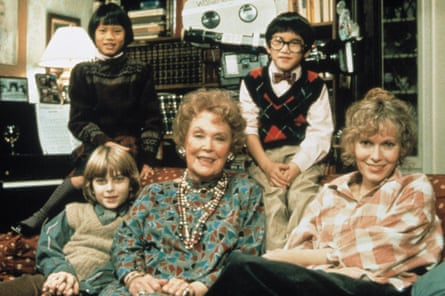 In the 1986 Woody Allen film Hannah and Her Sisters: (front from left) Fletcher Farrow Previn, Maureen O'Sullivan, Mia Farrow, (back from left) Daisy Previn and Moses Farrow.