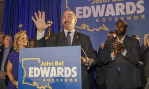 Louisiana governor John Bel Edwards speaks at his election night watch party in Baton Rouge, on Saturday.