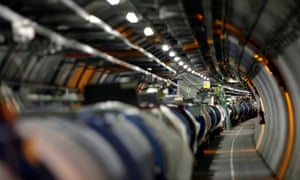 The Large hadron collider in its tunnel at CERN (European particle physics laboratory) near Geneva, Switzerland.