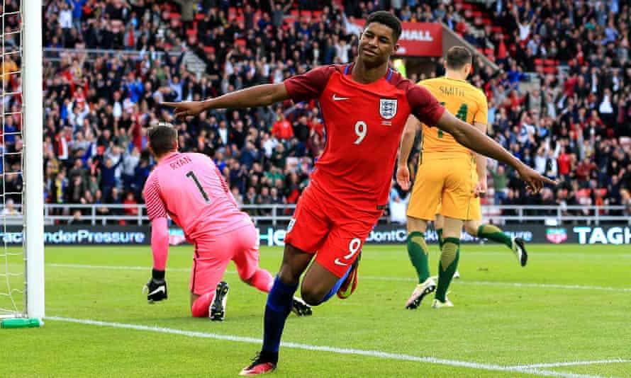 Marcus Rashford celebrates his first England goal