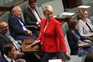 Tanya Plibersek leaves the chamber at the direction of the Speaker under standing order 94a during question time