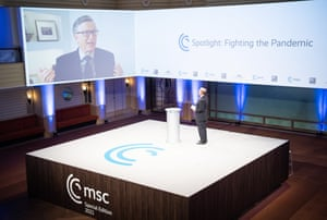 A handout photo made available by the Munich Security Conference (MSC) shows Bill Gates (screen), Co-Chair of the Bill & Melinda Gates Foundation speaking during the Munich Security Conference 2021 Special Edition, in Munich, Bavaria, Germany, 19 February 2021.