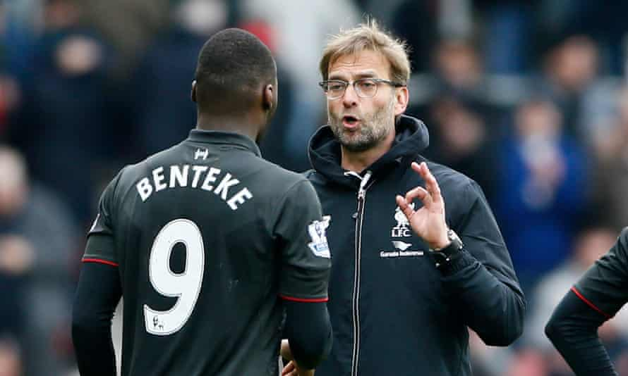 Jürgen Klopp and Christan Benteke involved in a heated discussion following Liverpool's 3-2 defeat at Southampton at the weekend