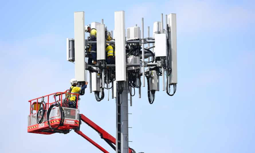 Work being carried out on a mobile network tower in Sydney in March