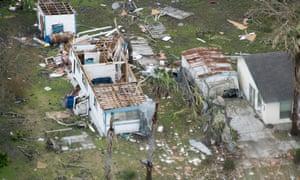 Aerial views of Hurricane Harvey damage is seen in Port Aransas, Texas, August 28, 2017.