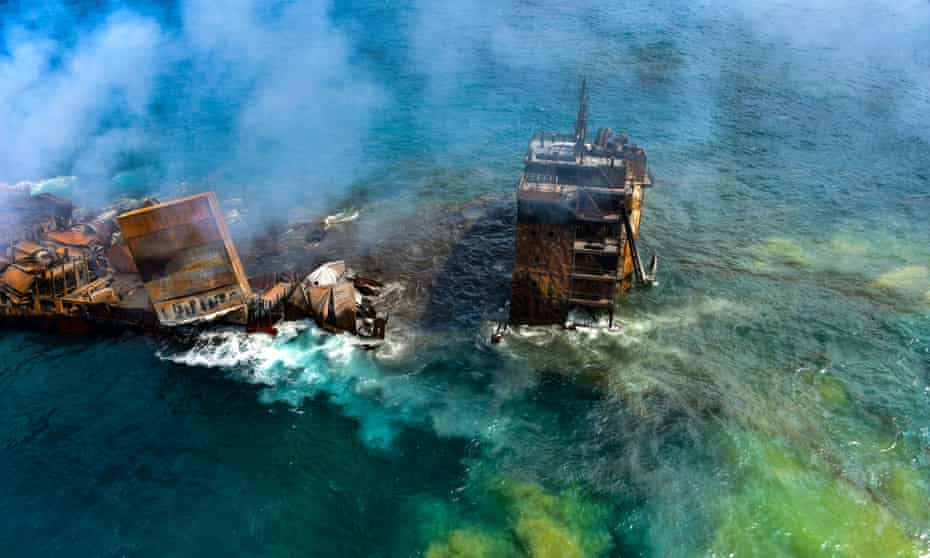 The MV X-Press Pearl cargo ship sinks off the coast of Sri Lanka