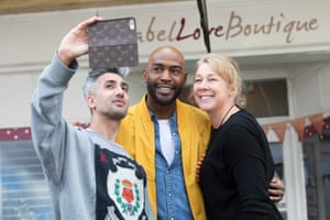 Tan France and Karamo Brown of Queer Eye take a selfie with Yass business owner Nicole Godding.