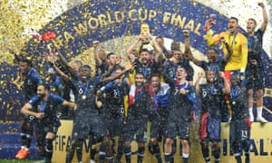 France lift the World Cup trophy.