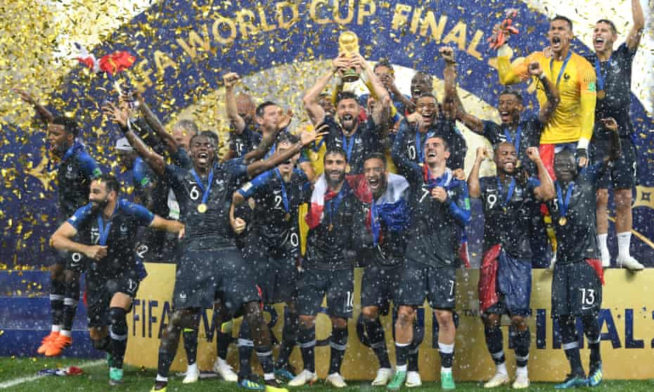 Olivier Giroud celebrating with the France squad after winning the World Cup in July 2018.