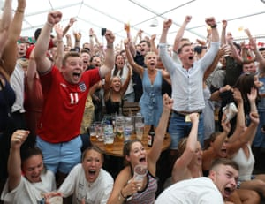 Russia World Cup 2018 Fans at the Rose & Crown pub, in Wimbledon, south London react to England's second goal from Dele Alli