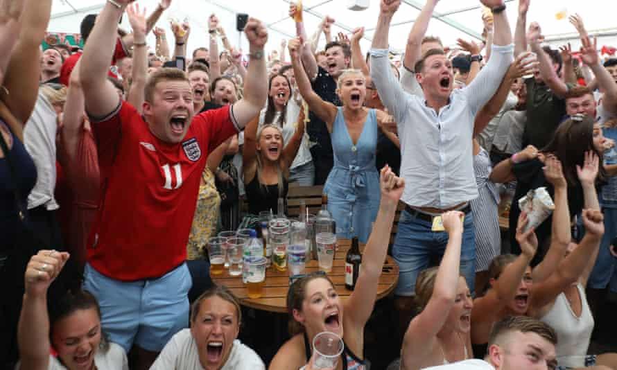 Fans watch England's World Cup quarter-final match in Wimbledon, London