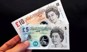 Samples of the Bank Of England's polymer banknotes.