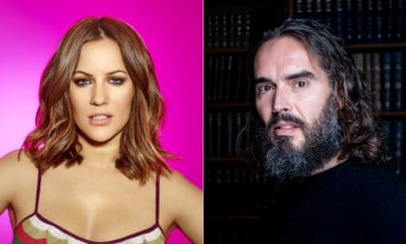 Caroline Flack and Russell Brand.