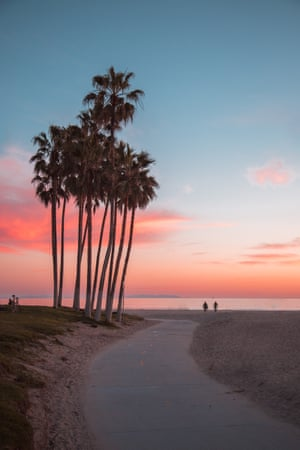 Palmes d'or, Venice Beach. More than 16 million people visit Venice Beach every year, making it the second-largest tourist attraction in southern California after Disneyland. But this photo shows a classic California sunset when all the day-trippers have gone home.