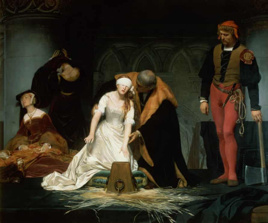 The Execution of Lady Jane Grey in the Tower of London in 1553, a Hippolyte Delaroche painting from 1833.