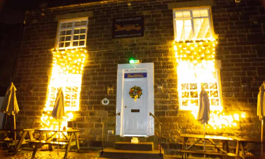 Christmas lights outside the Golden Lion in Osmotherley, North Yorkshire
