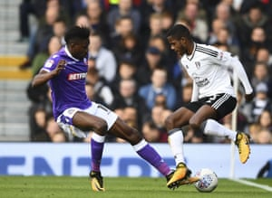 Ryan Sessegnon of Fulham (R) in action vs Sammy Ameobi of Bolton Wanderers during Fulham v Bolton Wanderers, Sky Bet Championship, Craven Cottage, London.