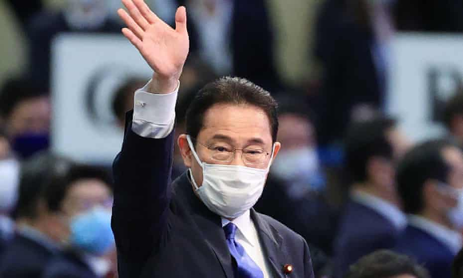 Fumio Kishida  reacts after being elected president  at the LDP presidential election in Tokyo