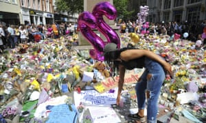 Tributes left in central Manchester to the victims of Monday night's bomb attack.