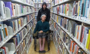 Shane Berry and Marc Siino, two homeless people at the public library in San Francisco's Castro neighborhood.