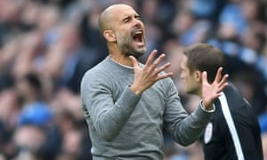 Pep Guardiola cut a frustrated figure in the second half at the Etihad as his side threw away a two-goal lead and the chance to claim the title against their city rivals.