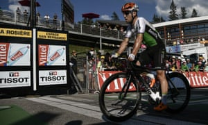 Mark Cavendish crosses the line in La Rosière but too late to avoid elimination.