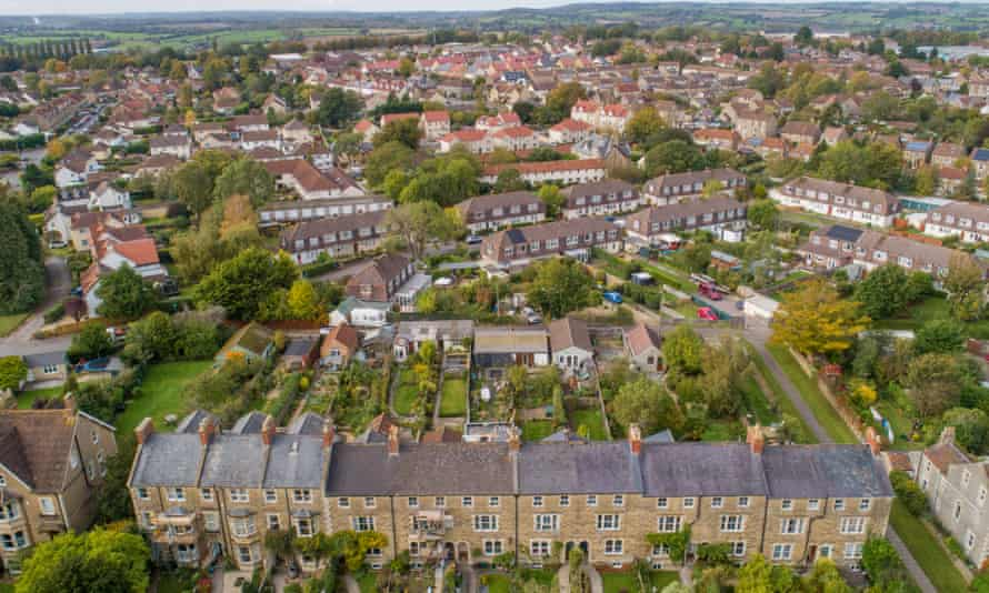 Aerial view of properties in Frome, Somerset.