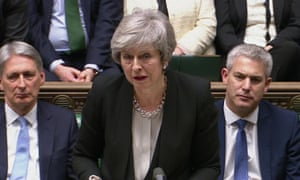 Theresa May addresses MPs after the results of Tuesday night's votes in the Commons.